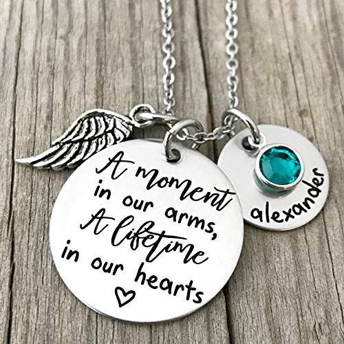 A Moment In Our Arms, A Lifetime In Our Hearts - Personalized Memorial Necklace - 1488 ()