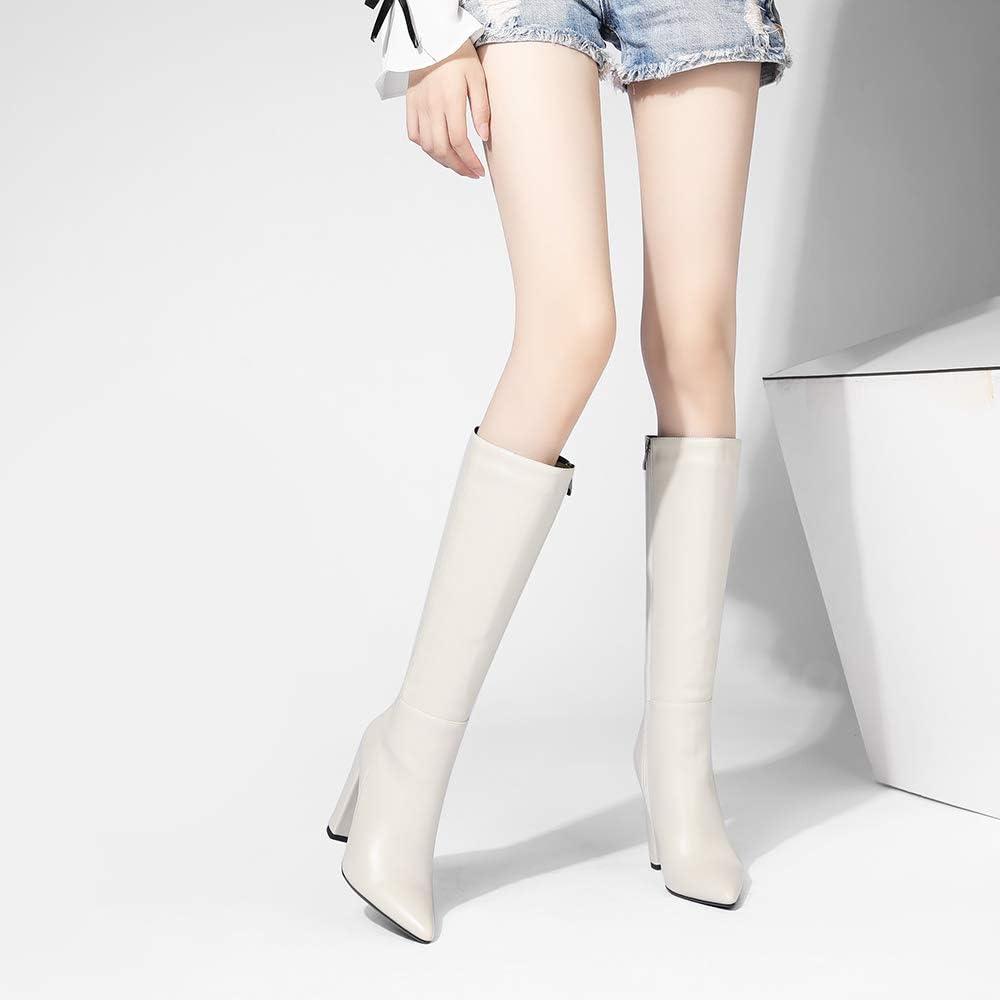 Gracemee Mujer Moda Dress Botas Rodilla Tacon Ancho 2 Beige xqsIU