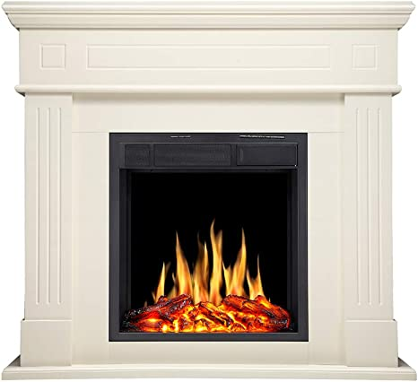 R W Flame Electric Fireplace Mantel Wooden Surround Firebox Freestanding Corner Fireplace Home Space Heather Adjustable Led Flame Remote Control 750w 1500w White Kitchen Dining