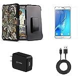 Samsung Galaxy J7 (J7 V, Perx, J7 Prime, Sky Pro, Halo) - Bundle: Dual Layer Shockproof Kickstand Belt Holster Case - (Camo), Screen Protector, 10W Wall Charger, USB Cable, Atom Cloth