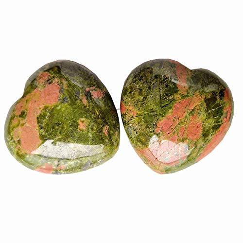 Loveliome 2 Pcs Unakite Carved Puff Heart Pocket Stone,Healing Palm Crystal(1.6 Inch)