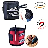 Magnetic Wristband Tool Belts For Men Strong Magnets For Holding Screws Nails Drill Bits And Small Metal Tools Adjustable Size Set Of 2Pcs (Black and Red)