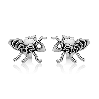 d83a4c548 Image Unavailable. Image not available for. Color: 925 Oxidized Sterling  Silver Tiny Little Ants Insect Post Stud Earrings 10 mm