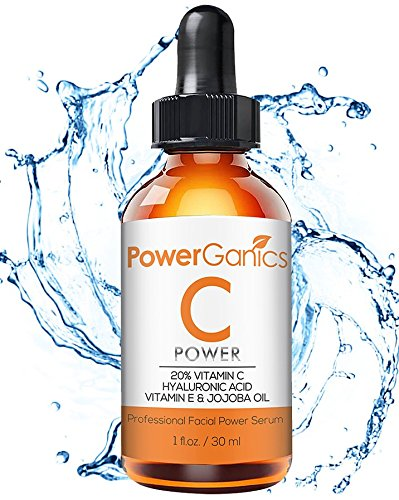 - PowerGanics - Vitamin C Natural Topical Facial Serum with Hyaluronic Acid, Vitamin E, Jojoba Oil – Natural Skin Firming Face Moisturizer – Target Wrinkles, Boosts Collagen