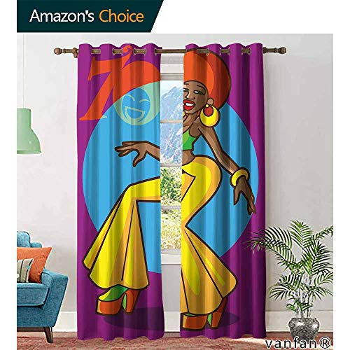 Big datastore 70s Party Decorations Curtains hippieAfrican American Woman Dancing at Disco Funky Fashion Smiling Face Thermal Insulated Tie Up W72 x L108 Multicolor