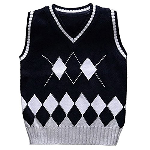 Baby Boys Toddler V-Neck Argyle Knit thicken Students Sweater Vest (2-3 Years, Navy) ()