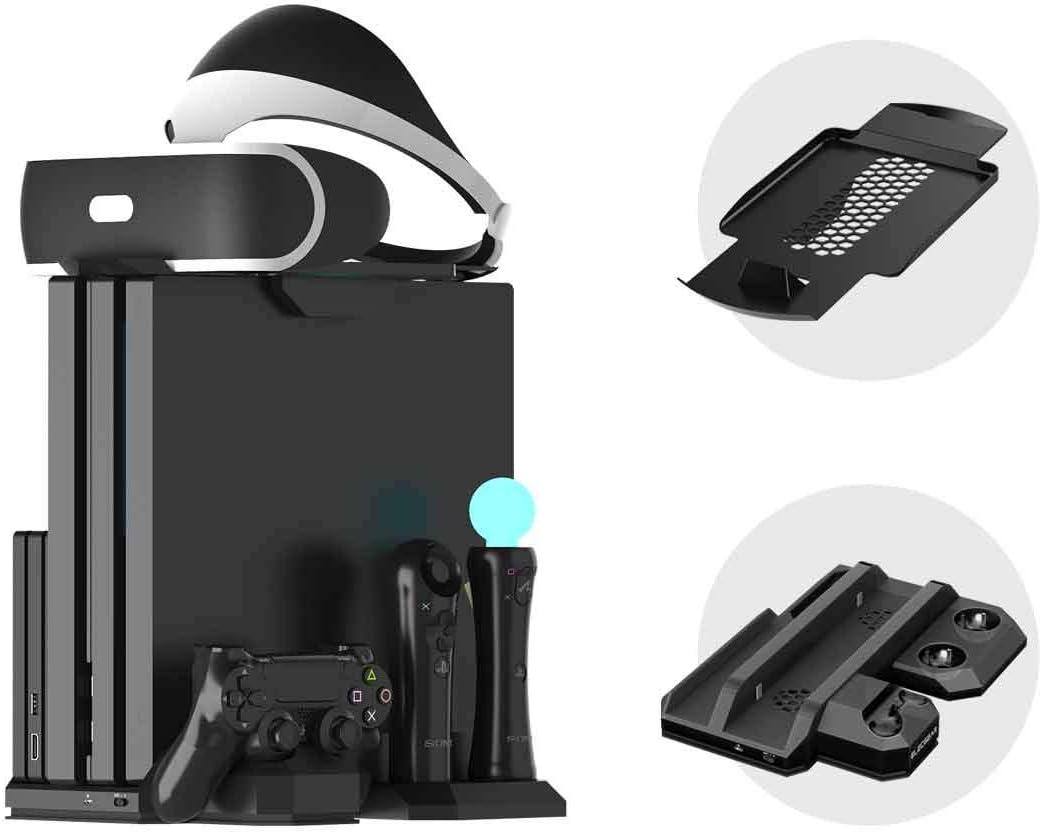 Soporte Vertical para PlayStation - ElecGear PSVR Stand, Ventilador de Refrigeración, Estación de carga cargador de controlador DualShock y Move Motion Controller Mando Charger para PS4, Slim y Pro