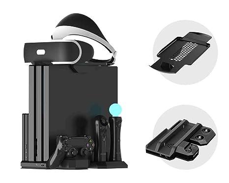 Soporte Vertical para PlayStation - ElecGear PSVR Stand, Ventilador de Refrigeración, Estación de carga cargador de controlador DualShock y Move ...