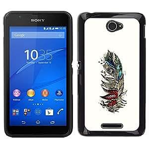 Caucho caso de Shell duro de la cubierta de accesorios de protección BY RAYDREAMMM - Sony Xperia E4 - Las aves de plumas Resumen Dibujo Arte