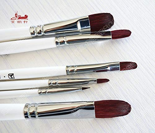 Vann92 6Pcs/Set Nylon Hair Paintbrush Acrylic Paints Oil Paint Brush Water Color Brush Artist Professional Art Supplies