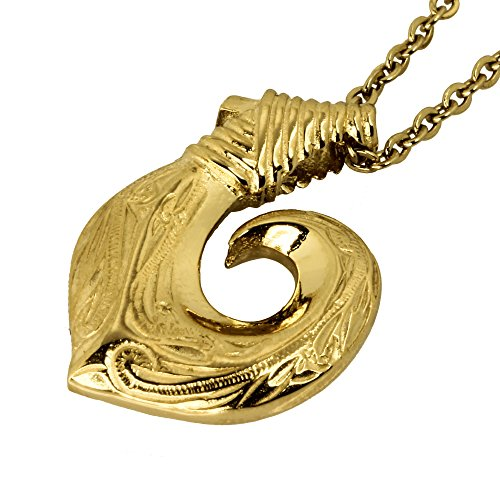 Hawaiian Fish Hook Necklace by Austaras - Necklace Pendant for Women and Men - 14K Gold Hawaiian Jewelry with Chain Made of Hypoallergenic 316L Stainless Steel Hawaiian Pendant