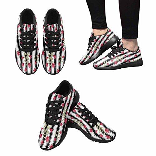 Scarpa Da Jogging Leggera Da Donna Running Running Leggera Easy Go Walking Comfort Sportivo Scarpe Da Ginnastica Fiori Rossi Carini
