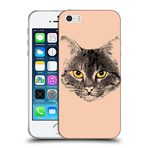GoGoMobile Coque de Protection TPU Silicone Case pour // Q07740604 Visage de chat 1 Abricot // Apple iPhone 5 5S 5G SE