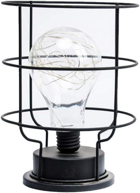 Lámpara de mesa de noche Lámpara de mesa LED de metal Bombilla blanca cálida Luz de escritorio Estilo de jaula Luces ambientales con pilas Lámpara de lectura: Amazon.es: Iluminación