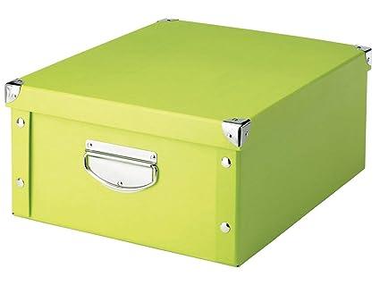 Zeller 17817 Caja de almacenaje de cartón Verde (Grun) 40 x 33 x 17