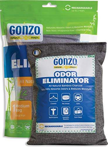 Gonzo Bamboo Charcoal - 1 Medium Bag 250g - Odor Eliminator Bags Natural Purifying Charcoal Odor Absorber Air Freshener For Home Drawers Pets Gym Bag