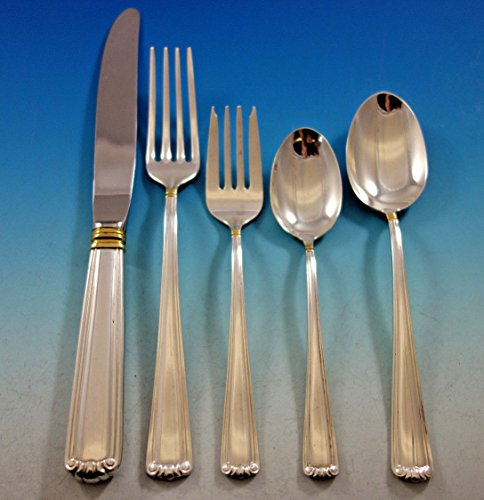 Embassy Scroll Gold by Lunt Sterling Silver Flatware Set Service 60 pcs Dinner