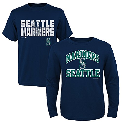 (MLB Youth Boys 8-20 Mariners 2Piece Long & Short sleeve Tee Set, L(14-16), Assorted)