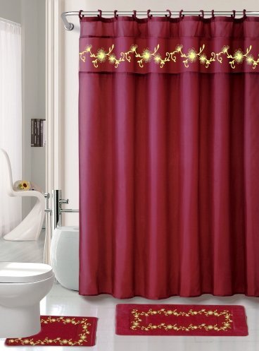 15 Piece Elegant Embroidery Heavy Duty Fabric Shower Curtain and Bathroom Mat Set - (BURGUNDY)