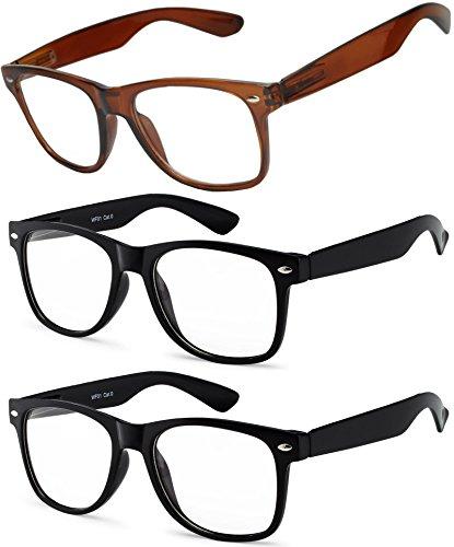 OWL - Non Prescription Glasses - Clear Lens - Brown + Black + Black (Pack of - Cheap Glasses Trendy