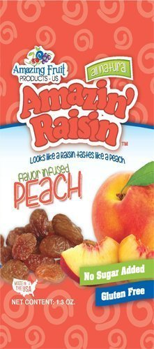 Amazin' Raisin Peach Flavor Infused Raisins 1.3-ounce Bag (Case of 50) by Amazin Raisin