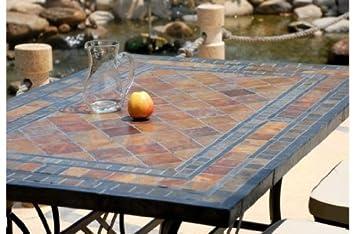 ERABLE: Table Mosaique De Jardin En Ardoise   Pierre Naturelle