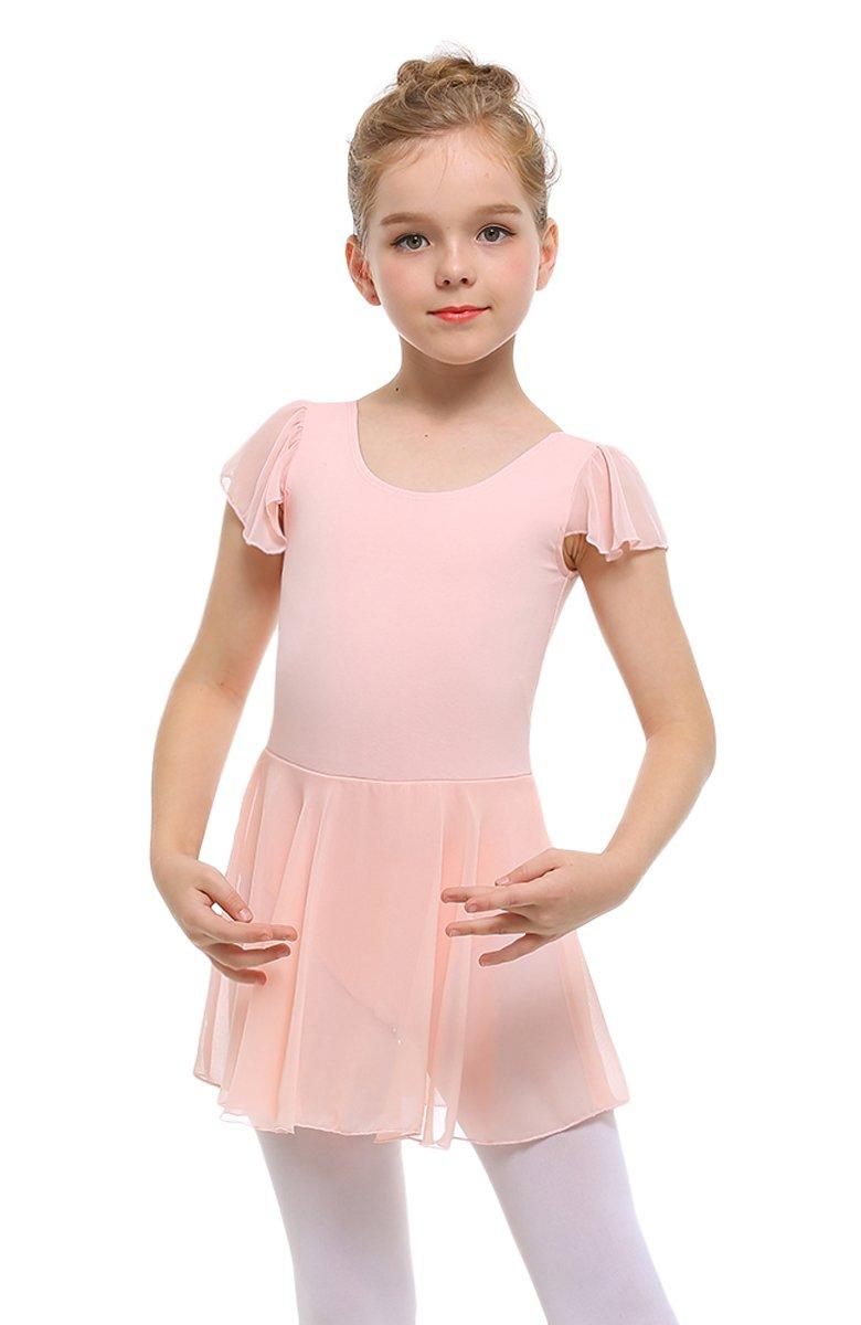 STELLE Girls' Ruffle Short Sleeve Tutu Skirted Ballet Leotard for Dance, Ballet (90cm, Ballet Pink)