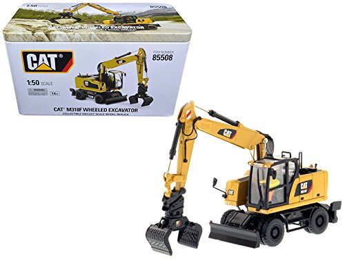 CAT Caterpillar M318F Wheeled Excavator with Operator High Line Series 1/50 Diecast Model by Diecast Masters 85508