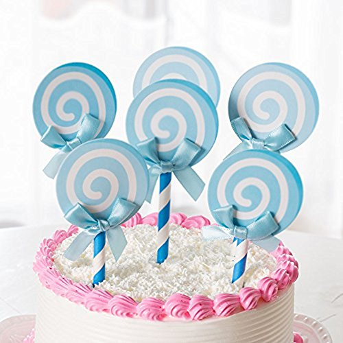 6PCS/Set Lollipop Shape Birthday Cake Topper, YOFUNTLE Cupcake Decorative Cupcake Topper for Kids Birthday Party Themed Party Baby Boy Shower (Blue) ()