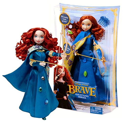Year 2011 Disney Movie Series Brave 10-1/2 Inch Tall Doll Set - Gem Styling Merida with Reversible Cape, 4 Decorative Gems, Hairpin, Long Bow and Arrow ()