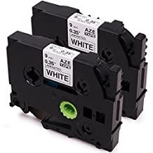 2 Pack Brother P-Touch Compatible 9mm Label Tape TZe-221 Black on White for PT-H110 PTD- 400AD PT-D210 PT-P700 PT-1880