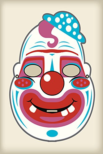 Creepy Clown Vintage Mask Decoration or Halloween Costume Cutout Poster 12x18 inch -