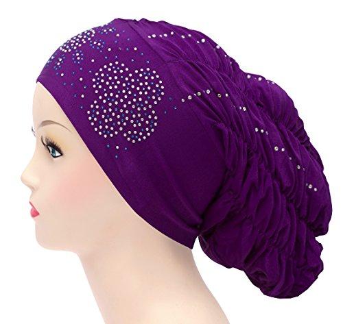 (Royal Snood Ruched Hijab Cap with Rhinestones (Purple))