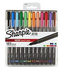 Sharpie Art Pens, Fine Point, Assorted Colors, Hard Case, 12 Pack (1982057)