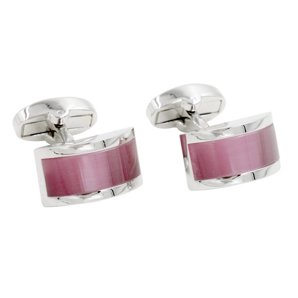 Sapphire Pink Stone Cufflinks | 5 Year Warranty | Gift Box Included | Mens Cuff Links