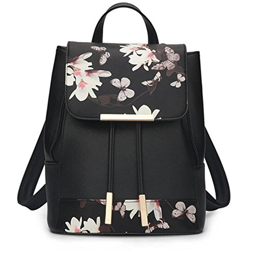 Large Flowers Leather Rucksack Pu Washed Shoulder Ladies Butterfly Women Backpack Capacity Bag Purse wq1TXnxH