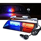 Xprite Red and Blue 16 LED High Intensity LED Law Enforcement Emergency Hazard Warning Strobe Lights For Interior Roof / Dash / Windshield With Suction Cups