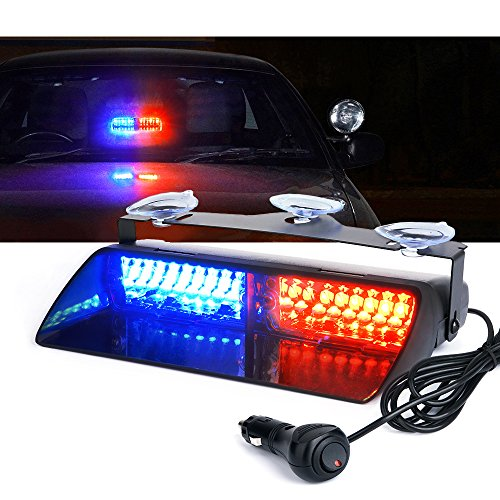 Xprite Red & Blue 16 LED High Intensity LED Law Enforcement Emergency Hazard Warning Strobe Lights For Interior Roof / Dash / Windshield With Suction Cups (Blue Strobe Light Red Bar)