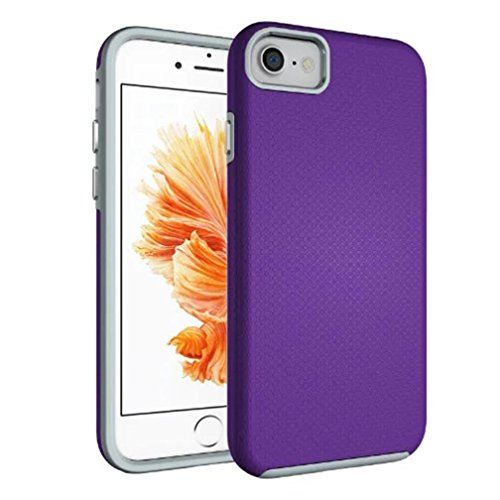 For iPhone 7 Case, HP95(TM) Fashion Back Shockproof Hybrid Rugged Rubber Protective Cover Case for iPhone 7 4.7inch (Purple) Purples Shape Tpu Rubber