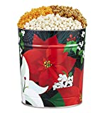 The Popcorn Factory Popcorn Gift Tin, Winter Floral, 3.5 Gallons (Robust Cheddar, White Cheddar, Caramel)