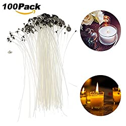 Moon mood Pre Waxed Wicks For Candle Making, 100 Pieces DIY Candle Wicks Candle Making Accessories With Sustainers (15cm)
