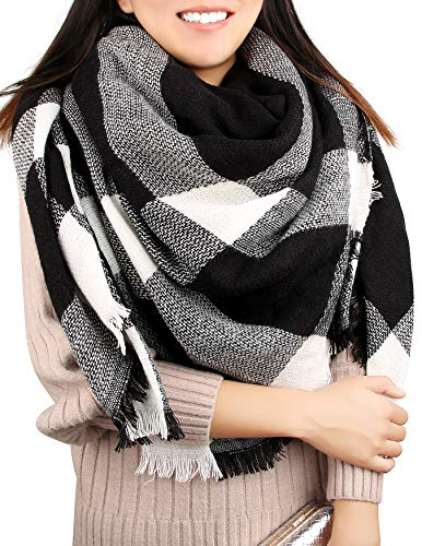 (Women's Blanket Scarf Winter Fall Warm Tartan Shawl Wrap Knit Soft Fleece Oversized Check Scarves, Black and White)