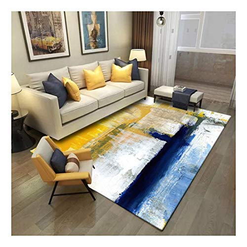 Damengxiang Alfombra Azul Amarillo Abstracta Moderna Para