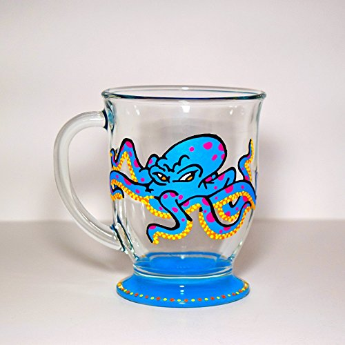 Octopus Mug, Hand Painted Glass