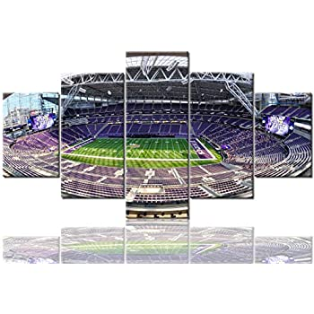 Native American Decor Minnesota Vikings Pictures US Bank Stadium Paintings 5 Panel Canvas Wall Art Modern Artwork Home Decorations for Living Room Framed Gallery-wrapped Ready to Hang(60''Wx32''H)