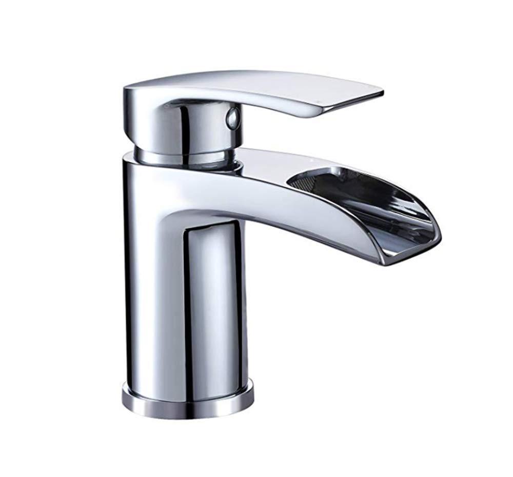 Edelstahl Einhand Mischer Einhebel Atemberaubende Wasserfall-Badezimmer-Becken-   Fester Heißer Mischungs-Hahn Des Messing