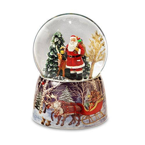 The San Francisco Music Box Company Santa and Reindeer Christmas Snow - Box Globe Snow Music
