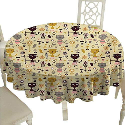 Squirrel Proof Flowers (cordiall Cat Round Polyester Tablecloth Feline Animals Holding Fish and Flowers in Childish Forest with Mushroom and Squirrels Waterproof/Oil-Proof/Spill-Proof Tabletop Protector D70 Multicolor)