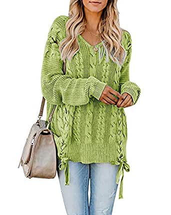 Ybenlow Womens Plus Size Pullover Sweaters Oversized Cable Knit V Neck Lace Up Chunky Long Sleeve Jumper Tops - Green - Small