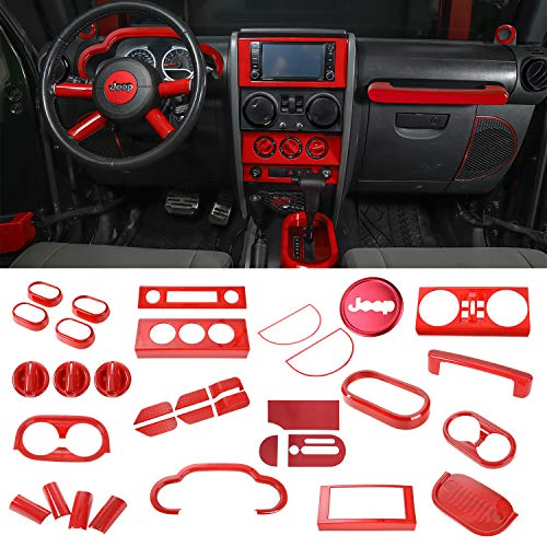 RT-TCZ Full Set Interior Decoration Trim Kit,Trim For Jeep Wrangler 2007-2010 (Red 40PCS)